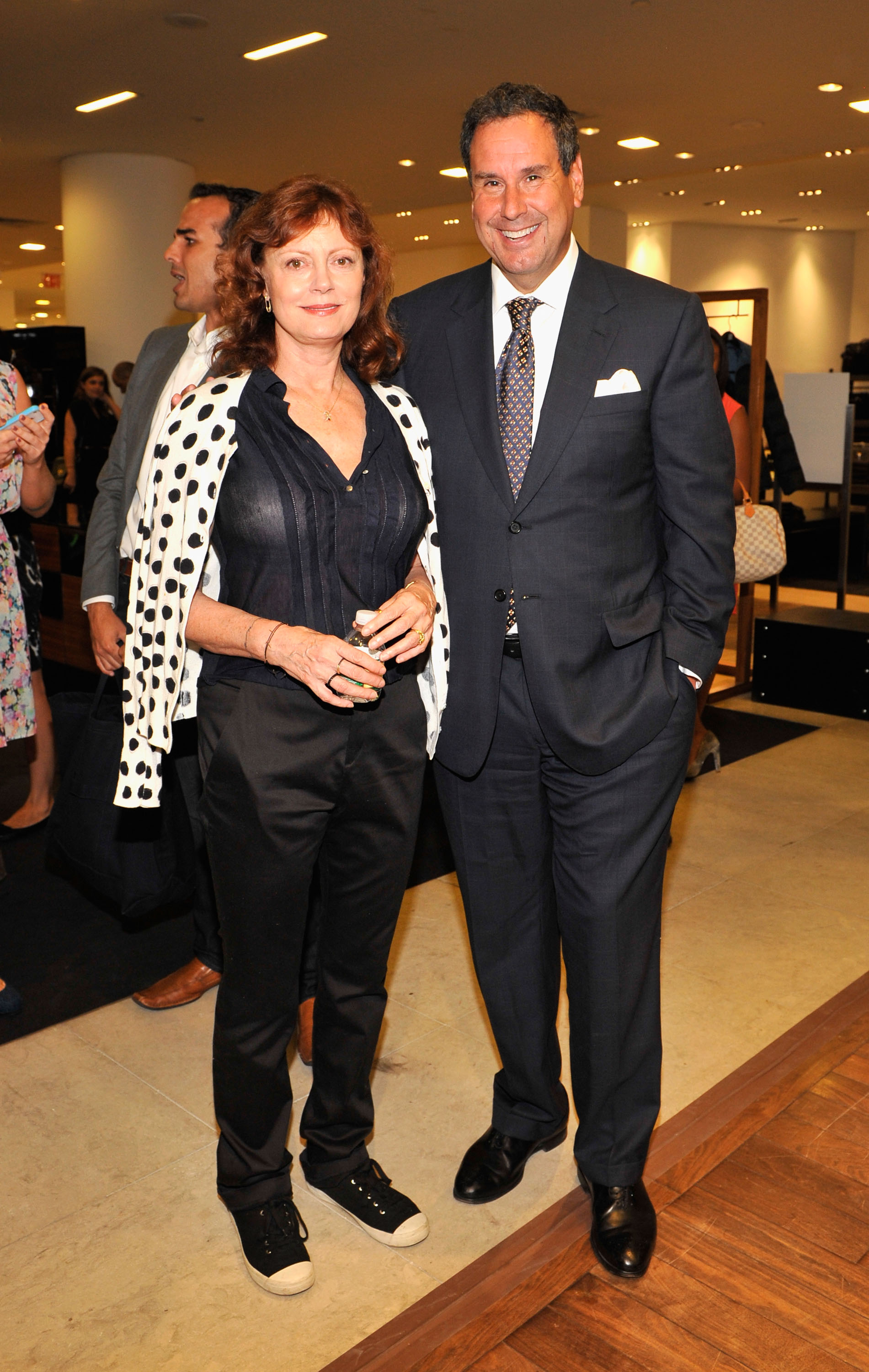Susan Sarandon, and Steve Sadove the Chairman and CEO of Saks 5th Avenue attends Fashion's Night Out at Saks Fifth Avenue on September 6, 2012 in New York City.  (Photo by Michael N. Todaro/Getty Images for Saks Fifth Avenue)