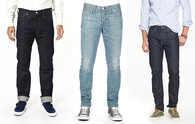 Tapered Jeans Characterized by a distinctive style, tapered jeans traditionally fit loosely in the thigh and hip area, but become progressively more snug moving down towards the middle of the leg to the ankles.