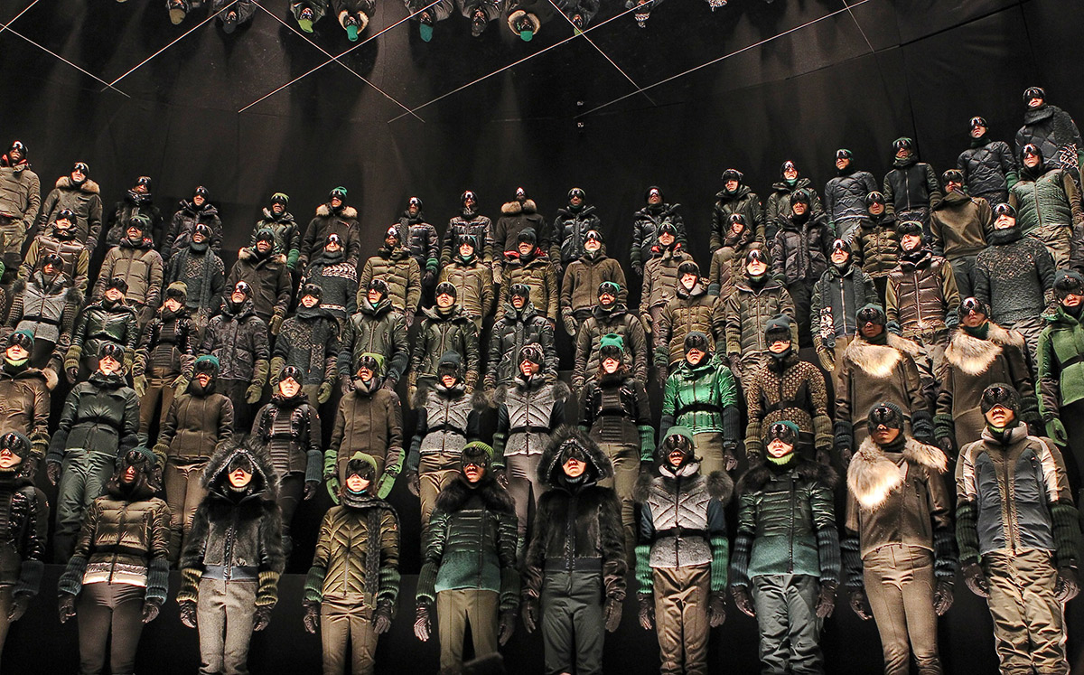Moncler Grenoble Fall 2013 presentation gotham hall menswear outerwear snow fashion week new york fall 2013 instillation models stormtroopers star wars lenny kravitz are you gonna go my way fascism