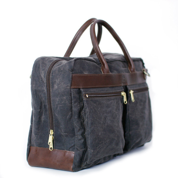 Wheelman and Co Heritage Portfield Chocolate weekender bags duffle laptop phone pocket leather wax canvas sale buy purchase discount travel made in america
