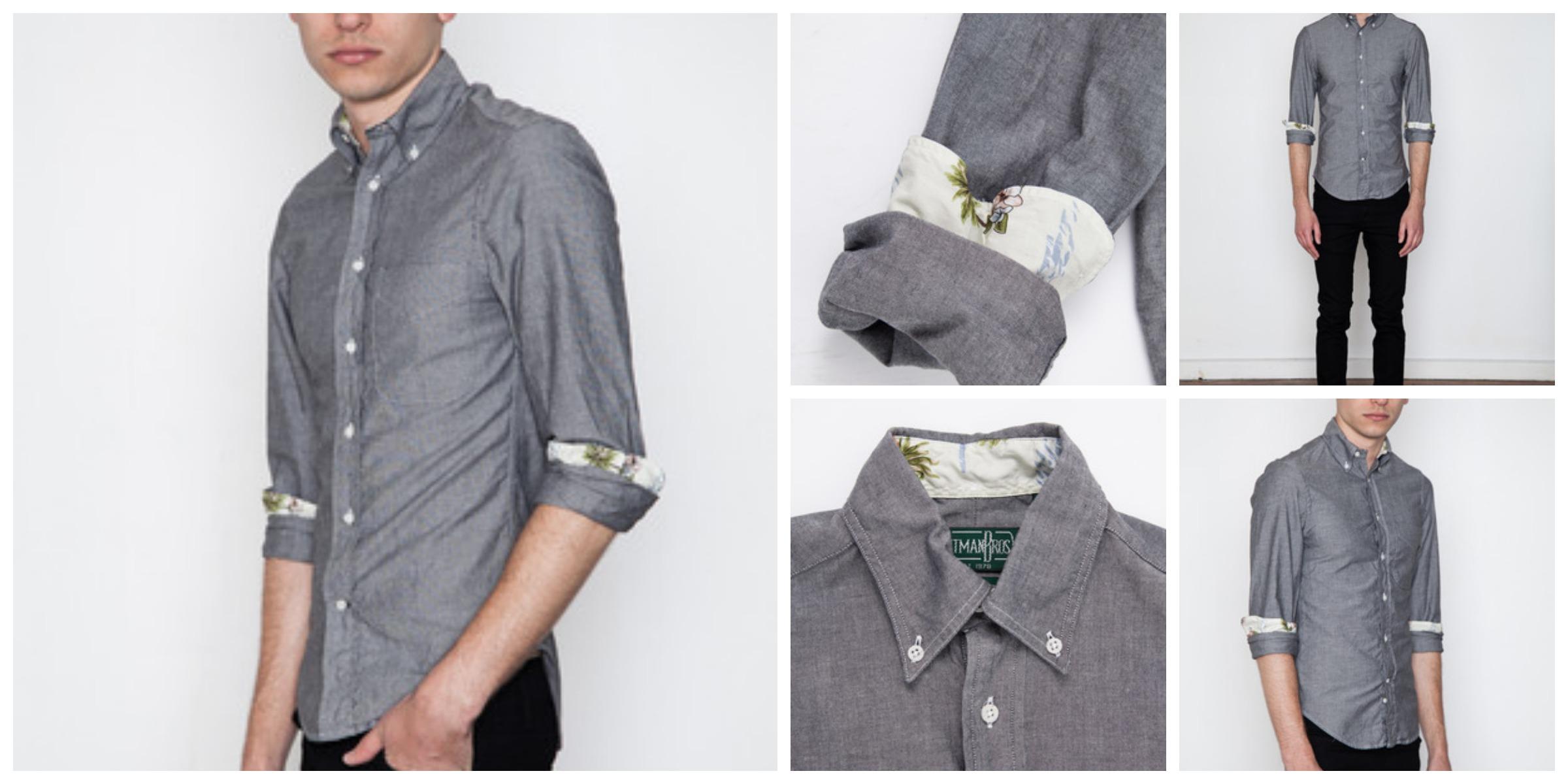 Gitman Bros Vintage Grey Chambray Summer Shirt White Aloha Exclusive