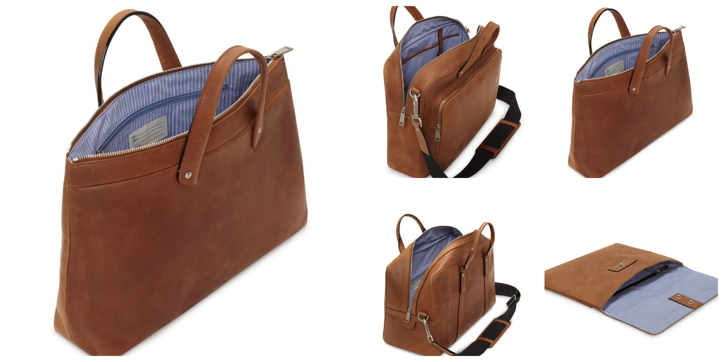 Jack Spade Summit Leather Collection full grain waxed brief envelope duffle