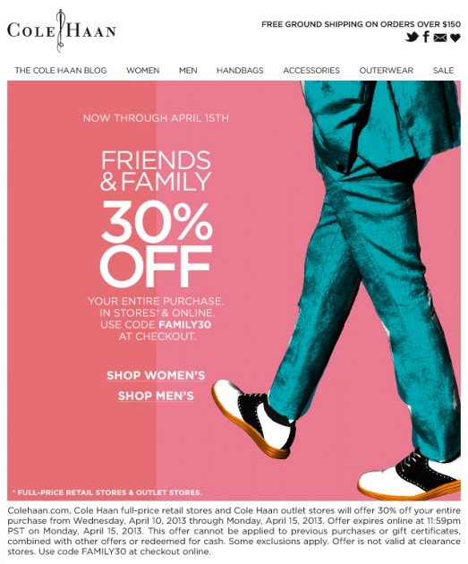 Cole Haan Friends and Family Sale Wingtip shoes leather high end designer price buy discount sale code promotion