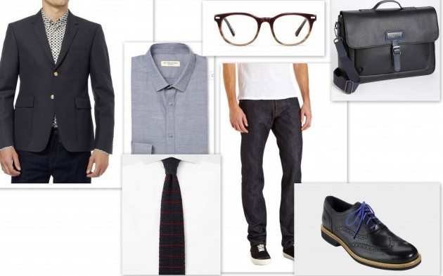 Cole Haan Great Jones Wingtips, J-Brand Darren Straight Leg Jean, Thom Browne Slim Fit Wool Blazer, Ted Baker New Grain Messenger Bag, Burberry London Slim Fit Chambray Button Up, Alfred Dunhill Striped Knitted Tie, Warby Parker Sinclair Burgundy Fade superman anniverary movie star designer buy cost find