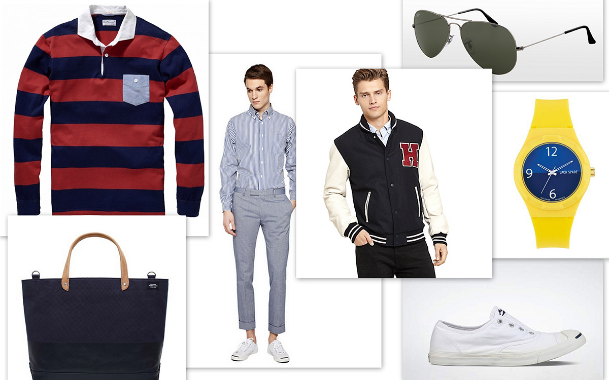 Gant, Heavy Rugger Chambray Pants, Gant Oxford Smarty Pants, Ray Baan's Aviator, Jack Spade United Arrows Dipped Coal Bag, Hilfiger H Varsity Jacket, Jack Purcell White canvas Converse.