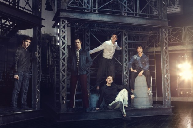 Newsies Cast Fashion Editorial Essential Homme photo shoot Adam Kaplan, Cory Cott, Garrett Hawe, John Dossett and Julian DeGuzman Gary Lupton and styled by Kelly Brown