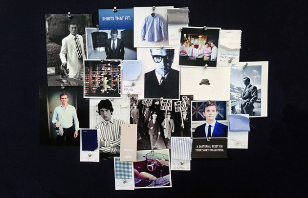 """Our moodboard captures our inspiration perfectly. Timeless photography and style, from the past and present, shape our brand. Individuals, from popular icons to our customers, inspire us daily. Our sizing system allows us to find the perfect fit right of the rack, while our styles are timeless. Our customers choose tradition over trend and use our shirts as the base of their wardrobe. Hugh & Crye outfits the modern gentleman."""