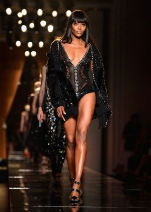 Naomi Campbell opens the show for Versace
