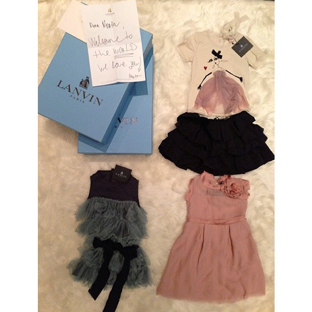 "Lanvin creative director Alber Elbaz sent these looks from the children's collection with a note that read; ""Dear North, Welcome to the world. We love you!"""
