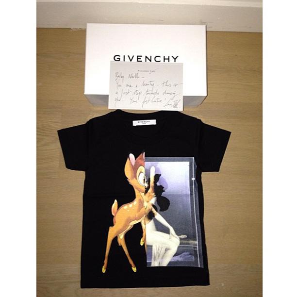 """OMG Baby bambi custom shirt for North!!! Thank you Riccardo! #Givenchy,"" -Kim Kardashian"
