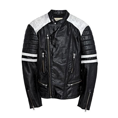 Black leather motorcycle jacket