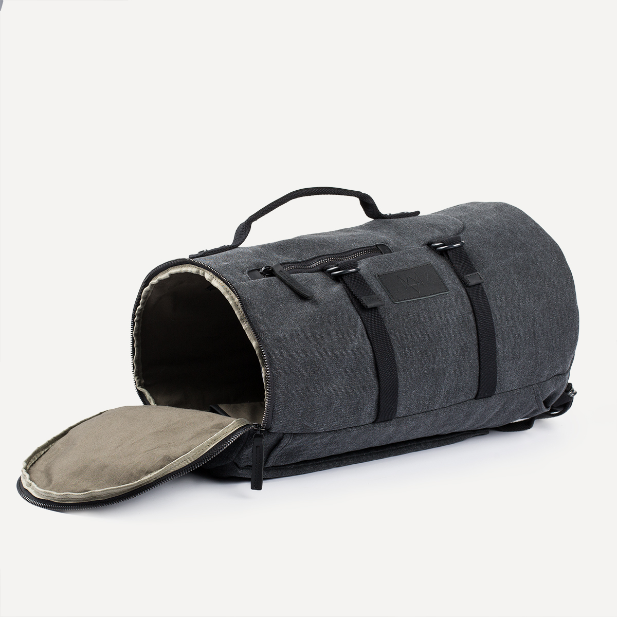 Canvas & Leather Duffle in Charcoal_2