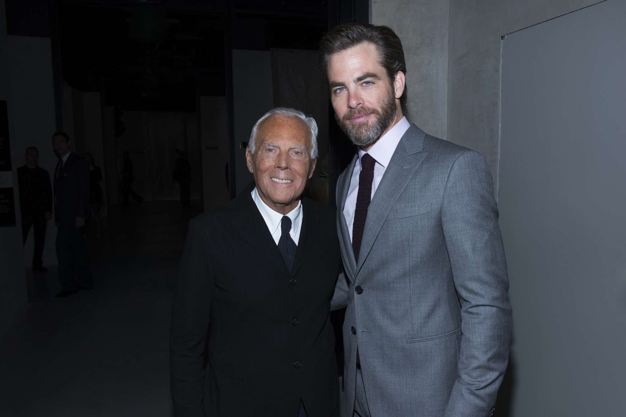 Giorgio Armani and Chris Pine
