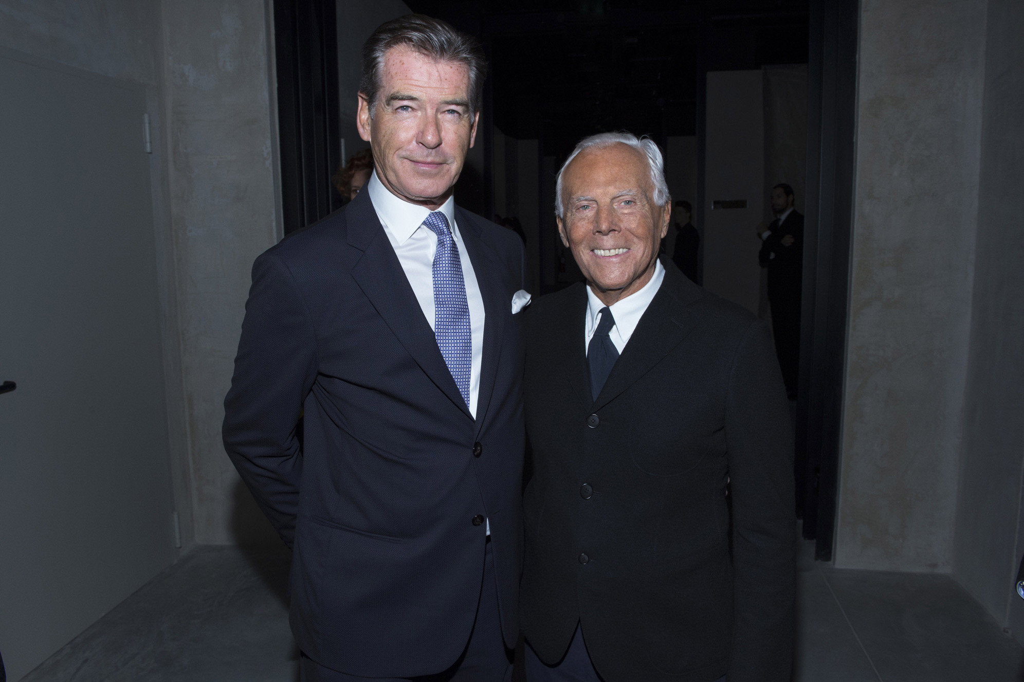 Pierce Brosnan and Giorgio Armani