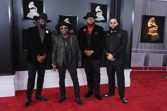 NEW YORK, NY - JANUARY 28:  Recording artist Anthony Hamilton (2nd L) with music group Anthony Hamilton & The Hamiltones attend the 60th Annual GRAMMY Awards at Madison Square Garden on January 28, 2018 in New York City.  (Photo by Steve Granitz/WireImage)