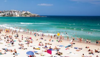 New year's day at famous Bondi beach, Sydney, New South Wales, Australia.
