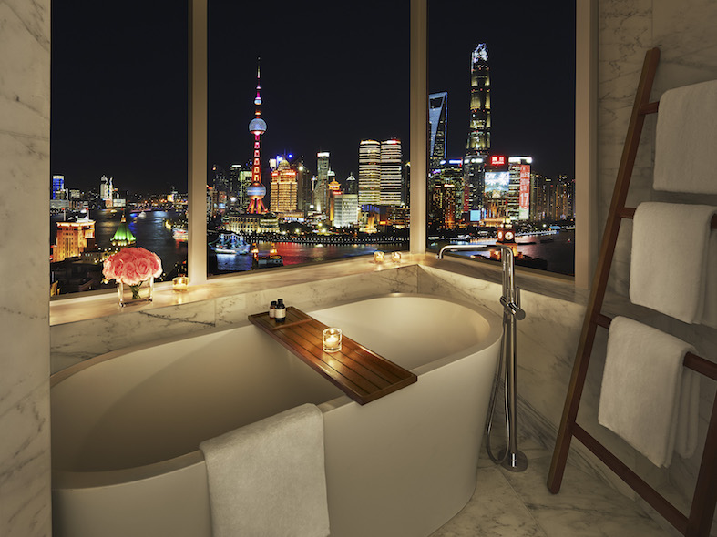 The Tub with a view in the bathroom of the Bund View Suite.