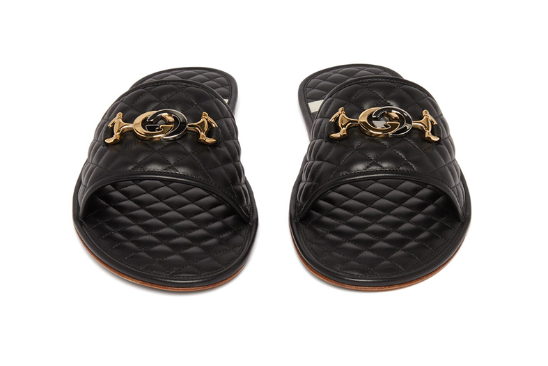 gucci GG-plaque quilted leather slippers