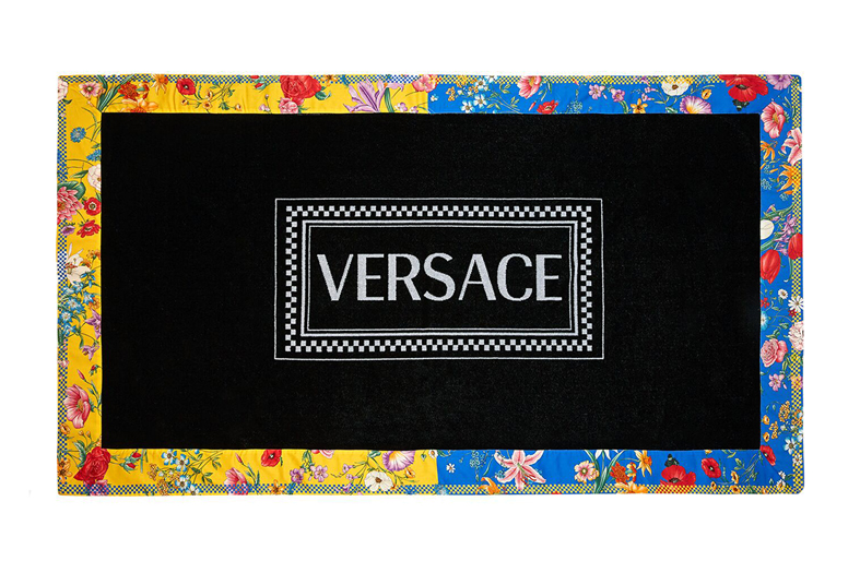 versace bloom print beach towel
